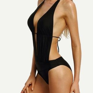 Black halter cut out monokini one piece. NEW